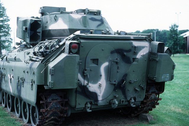 A U.S. Army M-3 Bradley infantry fighting vehicle on display at the U.S. Army Aberdeen Proving Grounds