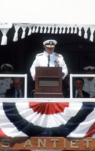 Admiral (ADM) James A. Lyons, commander in chief, US Pacific Fleet, speaks during the commissioning of the guided missile cruiser USS ANTIETAM (CG 54)