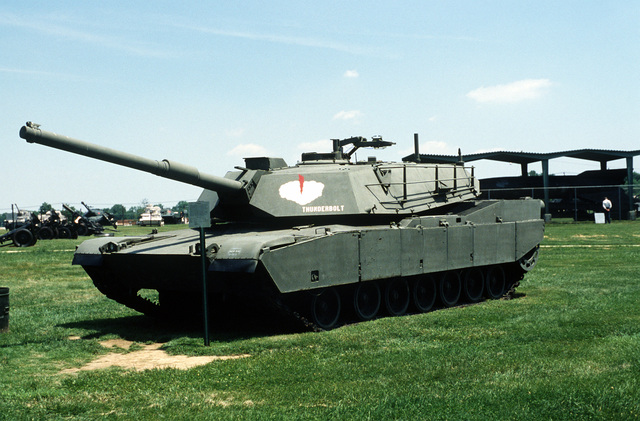 The original U.S. Army M-1 Abrams prototype main battle tank on display at the U.S. Army Aberdeen Proving Grounds