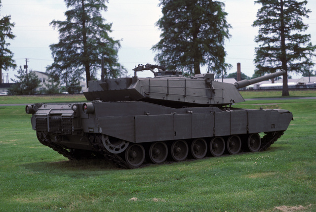 The original US Army M1 Abrams prototype main battle tank on display at the US Army Aberdeen Proving Grounds