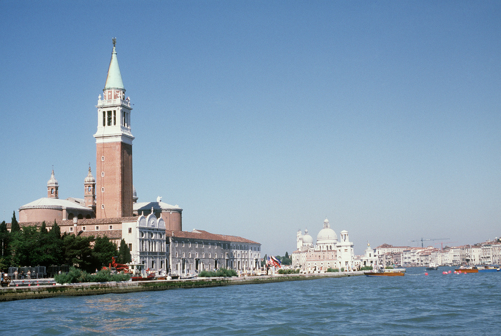 An overview of Venice and the Grand Canal during the seven-nation economic summit in which President Ronald Reagan participated