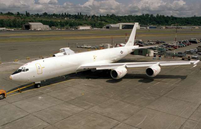 A left front view of the advanced E-6A TACAMO (take charge and move out) aircraft during a rollout ceremony held by Boeing Aerospace Co. The aircraft will replace the aging C-130 Hercules aircraft in providing an airborne communications relay between the National Command Authority and fleet ballistic missile submarine