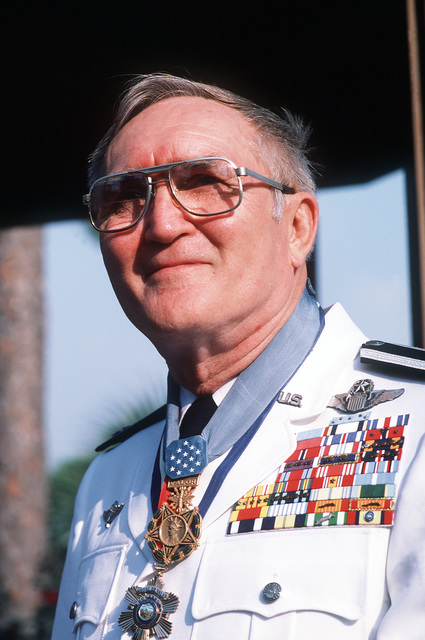 """Retired COL. George """"Bud"""" Day wears his ceremonial dress uniform. COL. Day is America's most decorated living veteran and his decorations include the Medal of Honor for his courage as a Vietnam prisoner of War (POW)"""