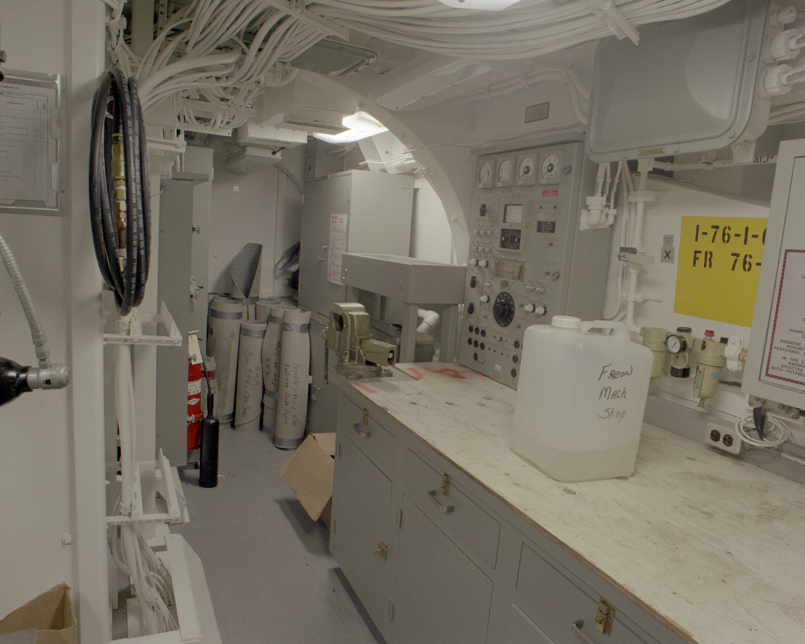 A view of the general workshop aboard the mine countermeasures ship AVENGER (MCM-1). Construction on the ship is complete