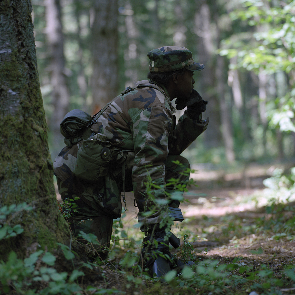 """A cadet observes operations on a field training exercise during the 4th Army ROTC Region""""Camp Adventure"""" Advanced Camp'87"""