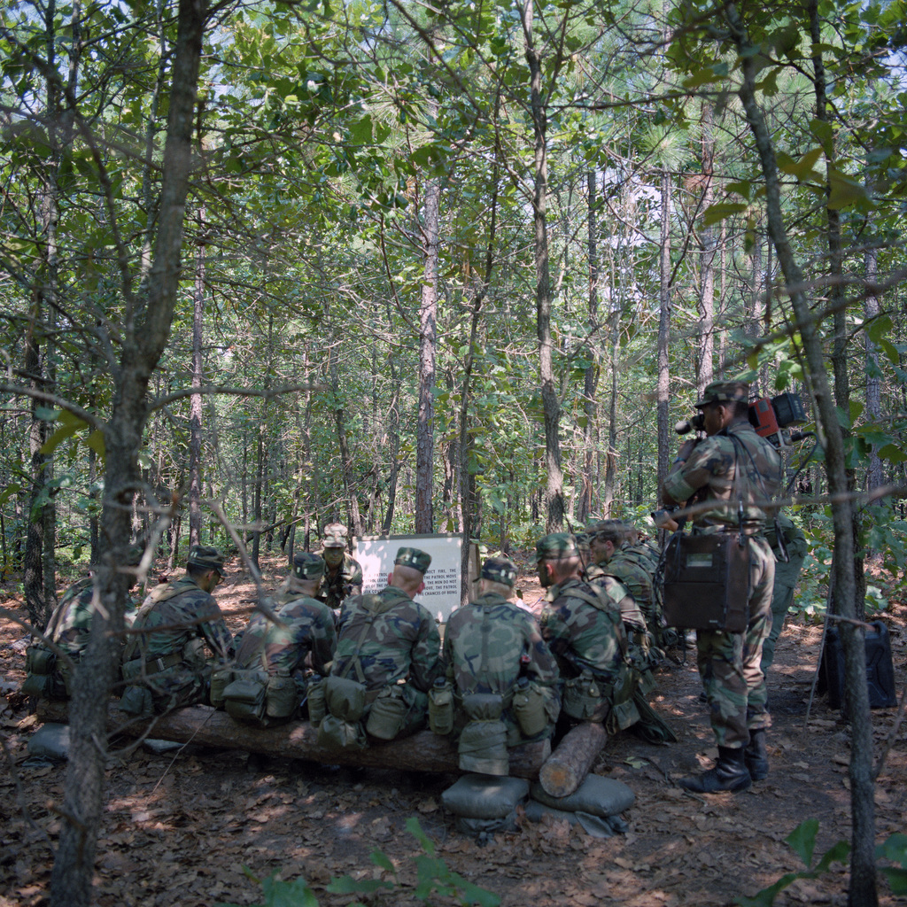 "Cadets attend a class on squad tactics during the 4th Army ROTC Region""Camp Adventure"" Advanced Camp'87"