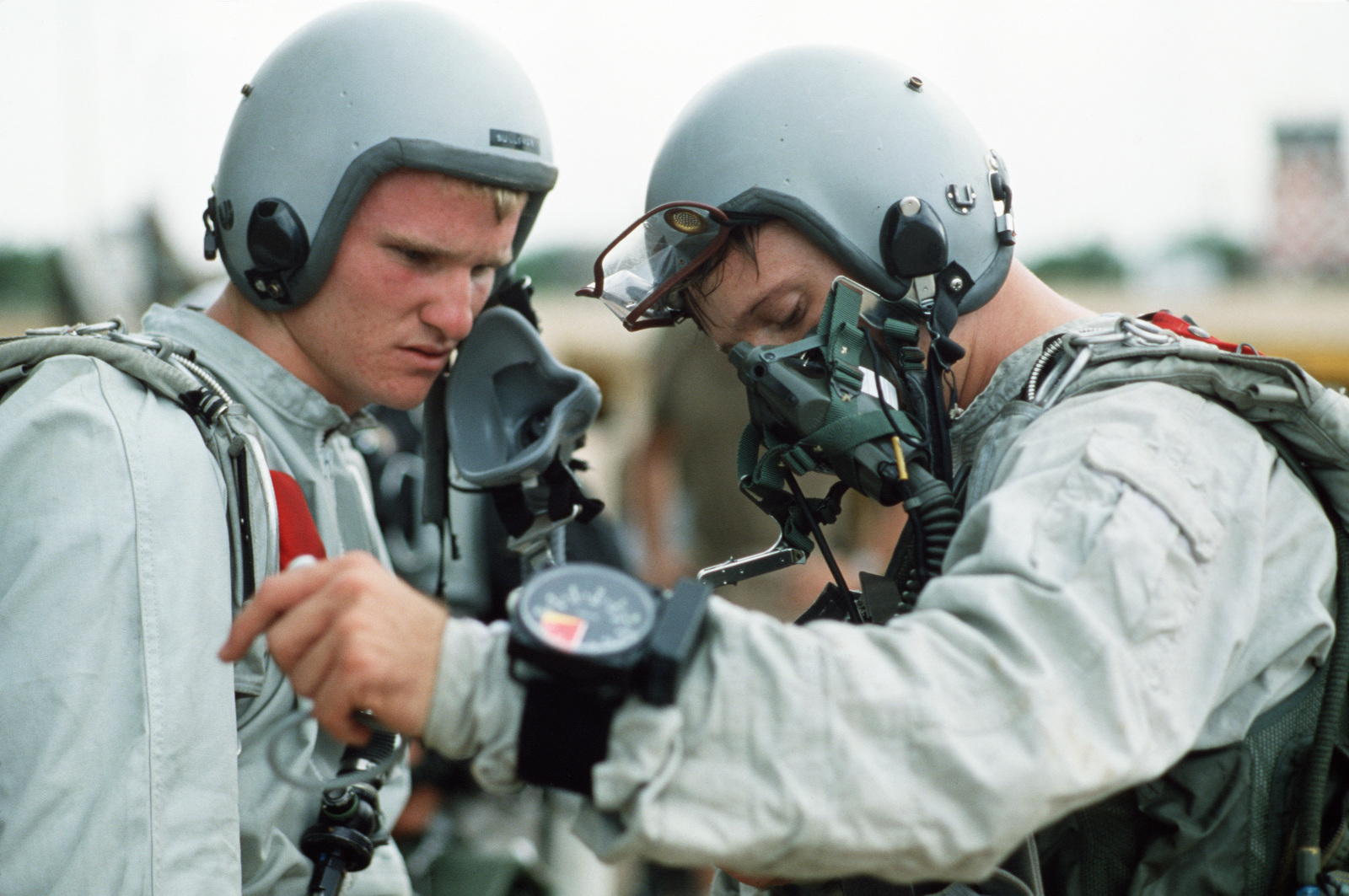 Members of Detachment 2 (Special Operations), 1722nd Combat Control Squadron prepare for a flight during Exercise COBRA GOLD'87