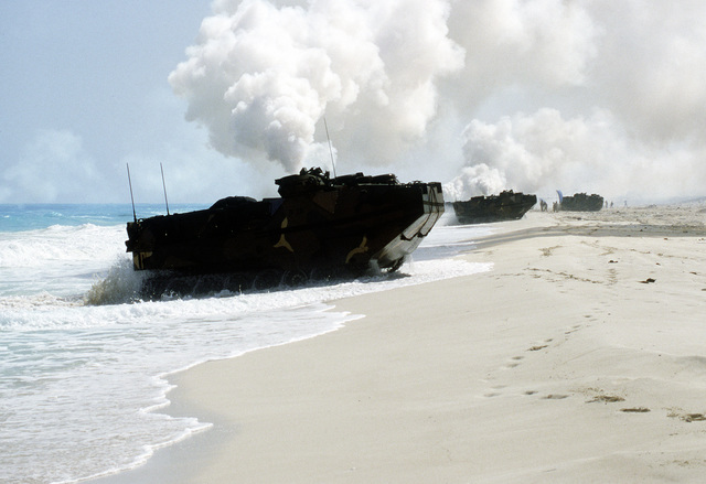 AAVP-7 assault amphibian vehicles bring Marines ashore during the multinational, joint exercise Bright Star '87