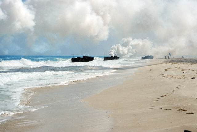 An AAVP7 assault amphibian vehicles brings Marines ashore during the multinational, joint service Exercise BRIGHT STAR'87