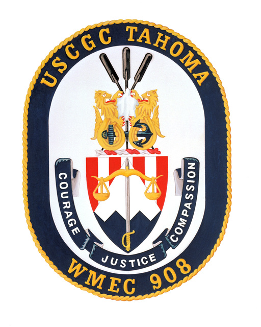 Approved coat of arms for:  USCGC TAHOMA (WMEC 908)