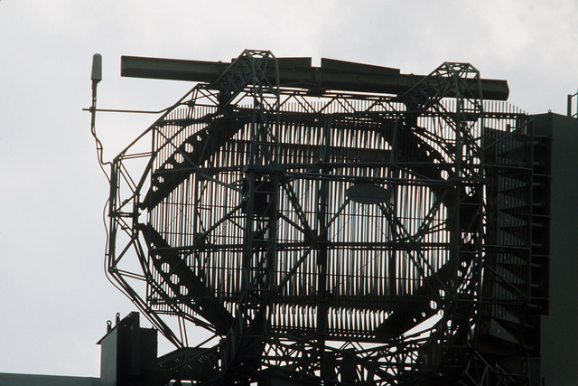 A view of a radar antenna at the RAF Watton eastern radar installation for air traffic control operations. The base is jointly used by the British and the US Air Force/Army