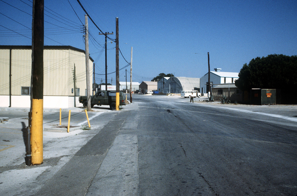 A view of the Camp Mitchell main road, facing the Company B, Naval Mobile Construction Battalion 40 area