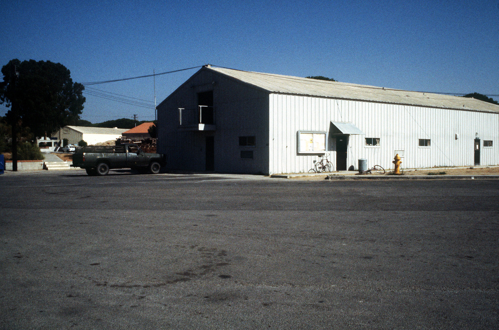 A view of the office structure for Company C, Naval Mobile Construction Battalion 40, at Camp Mitchell