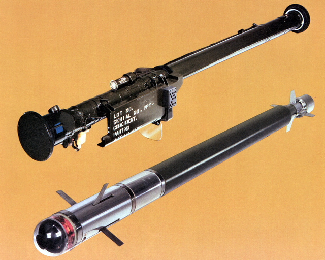 A view of the Stinger missile and a launch tube, a lightweight, portable, shoulder-fired, surface-to-air defense system