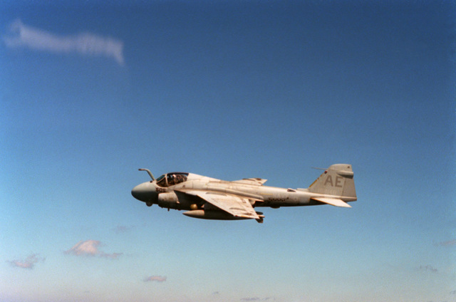 An air-to-air left side view of an Attack Squadron 176 (VA-176) A-6E Intruder aircraft during Exercise OCEAN SAFARI'87