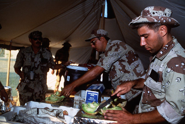 Members of the 4th Services Squadron serve food in the mess tent during Exercise SHADOW HAWK'87, a phase of BRIGHT STAR'87.  The US Central Command exercise represents a Joint Chiefs of STAFF effort to evaluate procedures used to deploy US tactical and lo