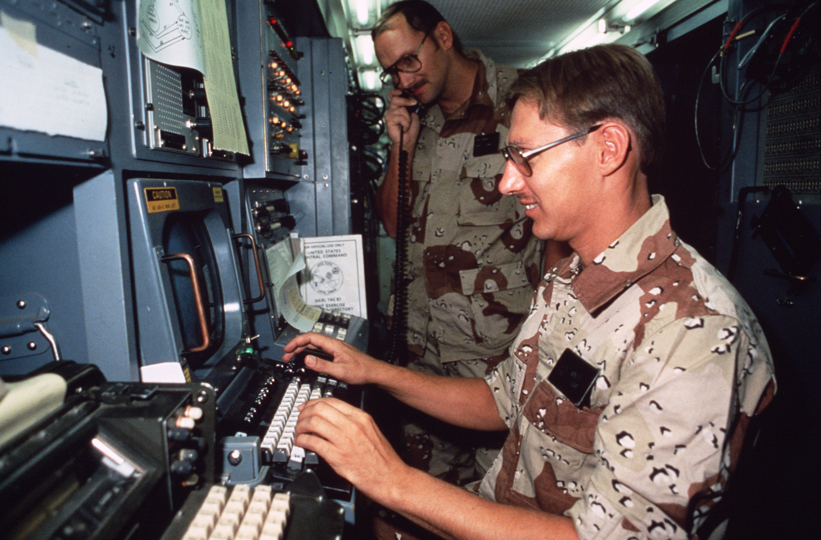Technical Sergeant Tsgt Jerry Ackley Of The Joint Communications Telephone Switcher Foreground Programs Land Lines Inside Anttc Automatic Circuit Van Set Up For Exercise Shadow Hawk87 A Jordan Us