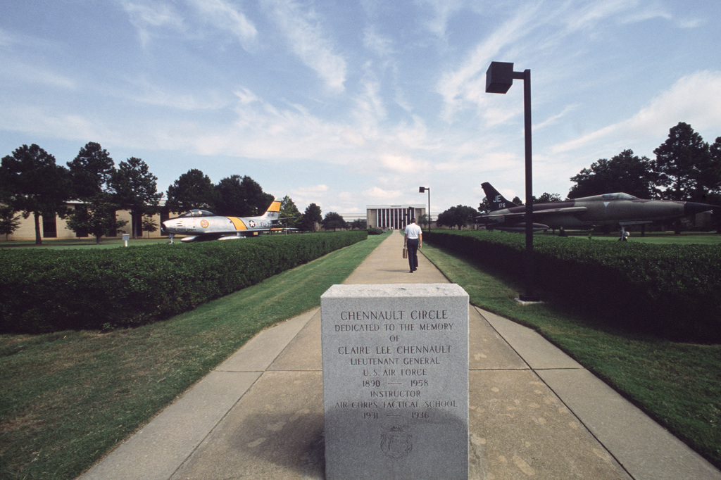 A marker at the entrance to Chennault Circle at the Air University.  The circle is dedicated to the memory of Lieutenant General (LGEN) Claire Lee Chennault, an instructor at the Air Corps Tactical School, Air University.  The university offers formal tra
