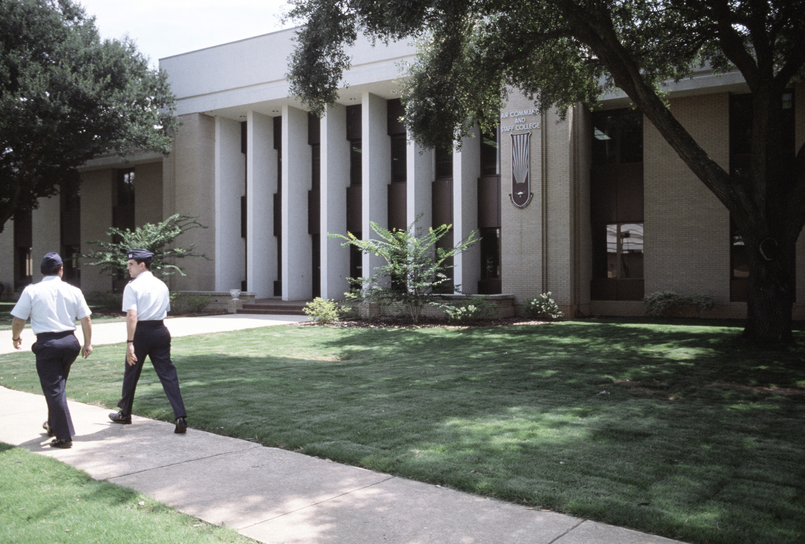 An exterior view of Air Command and STAFF College, Air University.  The university offers formal training in many areas of military studies to officers and senior non-commissioned officers in the Air Force