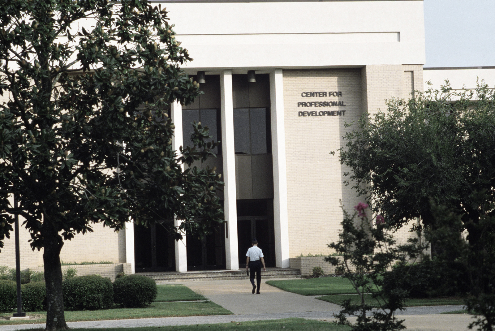An exterior view of the Center for Professional Development, Air University.  The university offers formal training in many areas of military studies to officers and senior non-commissioned officers in the Air Force