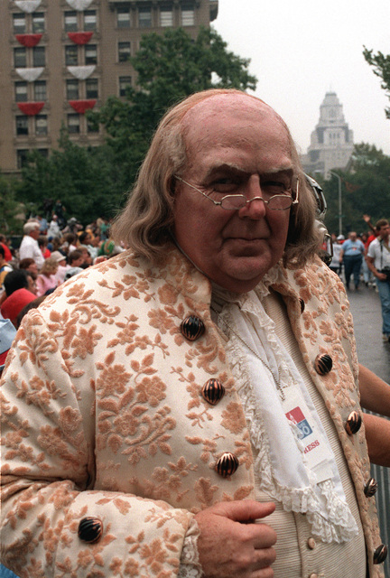 An actor portrays Benjamin Franklin during a parade celebrating the bicentennial of the U.S. Constitution