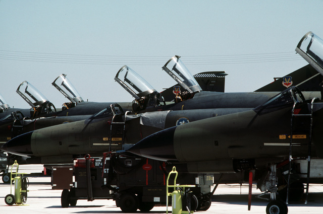 F-4 Phantom II aircraft of the 70th Tactical Fighter Squadron are parked on the flight line during Exercise COPPER FLAG, one of the final missions to be flown by phantoms assigned to the squadron