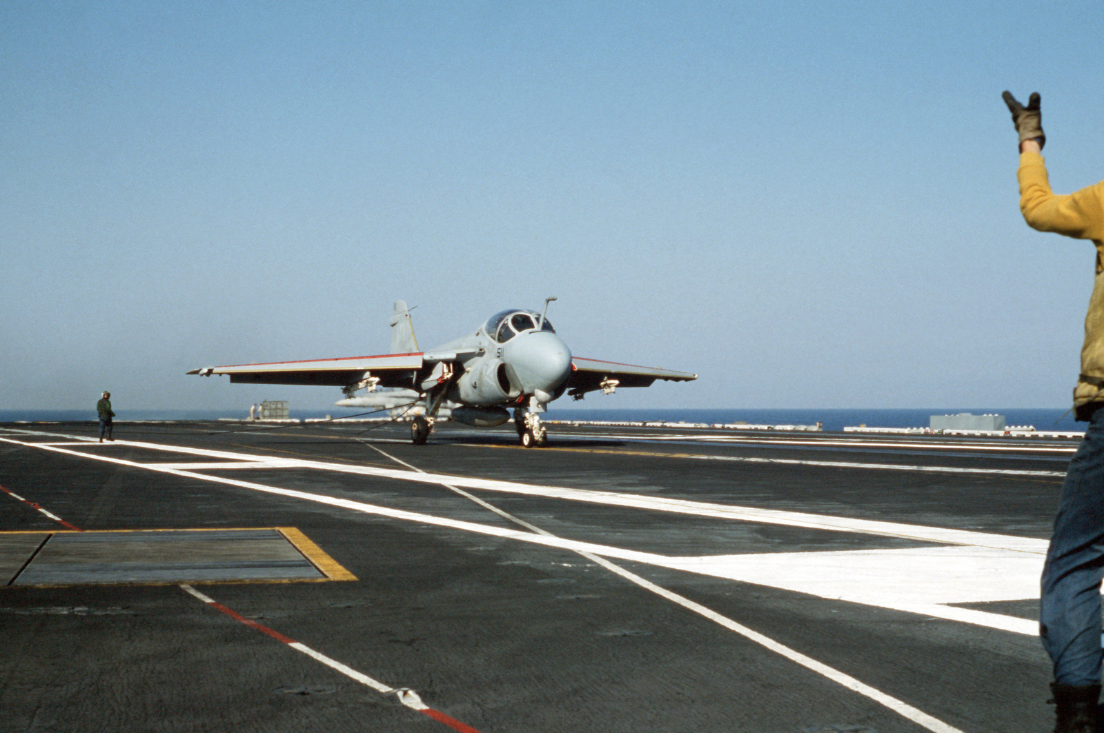 A Strike-Fighter Squadron 111 (VFA-111) A-6E Intruder aircraft lands aboard the nuclear-powered aircraft carrier USS DWIGHT D. EISENHOWER (CVN 69)