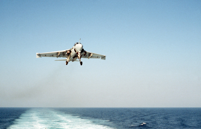 A Strike-Fighter Squadron 111 (VFA-111) A-6E Intruder aircraft approaches for a landing aboard the nuclear-powered aircraft carrier USS DWIGHT D. EISENHOWER (CVN 69)