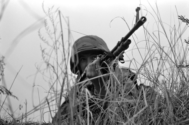 A Marine artilleryman from Company L, 4th Battalion, 12th Marines, sights down the barrel of an M60 machine gun during a reconnaissance, selection and occupation of position (RSOP) training exercise during Operation BEAR HUNT'88