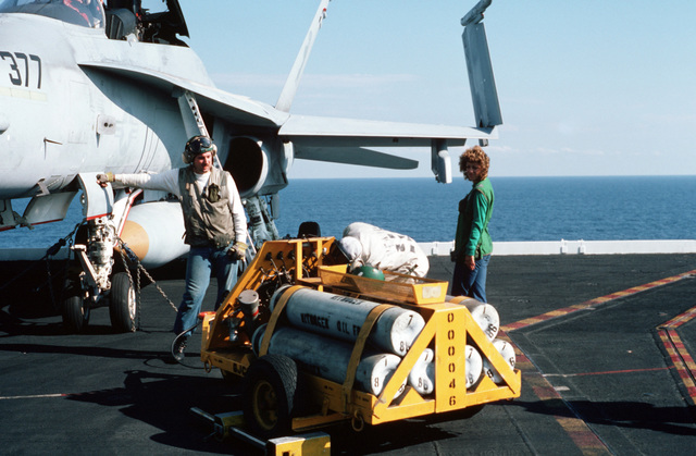 A preflight crew completes an inspection of a TF/A-18 Hornet aircraft parked on the flight deck of the nuclear-powered aircraft carrier USS DWIGHT D. EISENHOWER (CVN 69). An NAN-2 is parked on the flight line