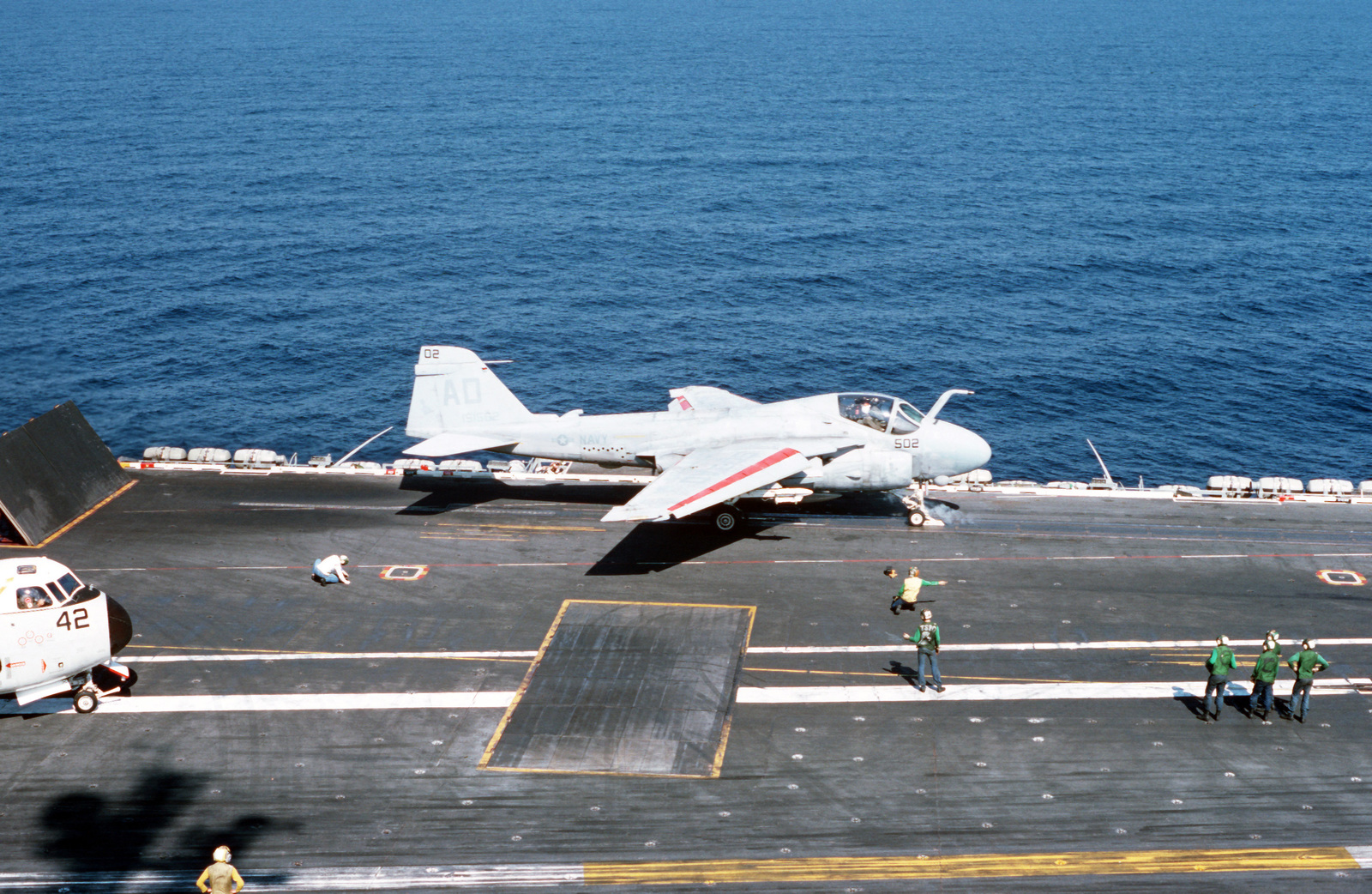 A Strike-Fighter Squadron 111 (VFA-111) A-6E Intruder aircraft is launched during flight operations aboard the nuclear-powered aircraft carrier USS DWIGHT D. EISENHOWER (CVN 69)