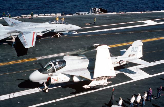 A Strike-Fighter Squadron 111 (VFA-111) A-6E Intruder aircraft taxis along the flight deck aboard the nuclear-powered aircraft carrier USS DWIGHT D. EISENHOWER (CVN 69)