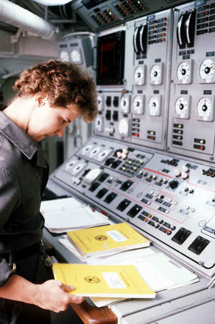 Interior Communications Technician 2nd Class Lori Richards works at the automated monitoring system console in damage control central aboard the salvage ship USS GRAPPLE (ARS-53). The GRAPPLE is towing three minesweepers to the Persian Gulf to support U.S. Navy escort operations