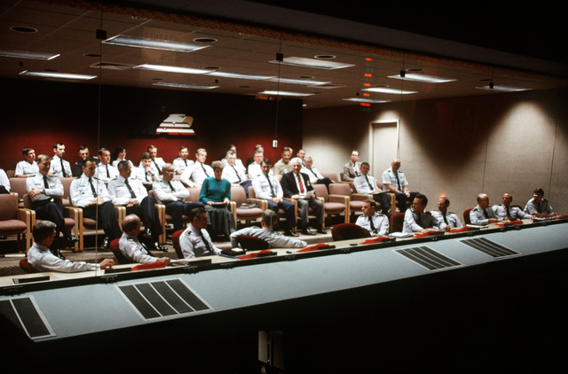 MAC Command senior staff personnel in their area overlooking the command post for the Military Airlift Command (MAC) headquarters at Scott Air Force Base, Illinois. Exact Date Shot Unknown