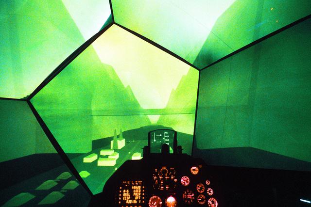 Pilot's eye view of an aircraft simulator visual simulation. Exact Date Shot Unknown