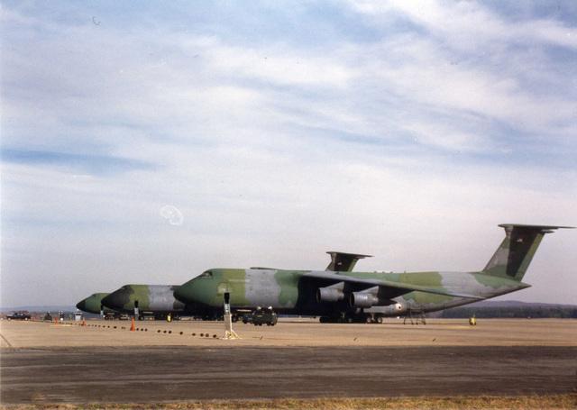 Three C5 Aircraft on Parking Ramp at Westover Air Force Base, Massachusetts