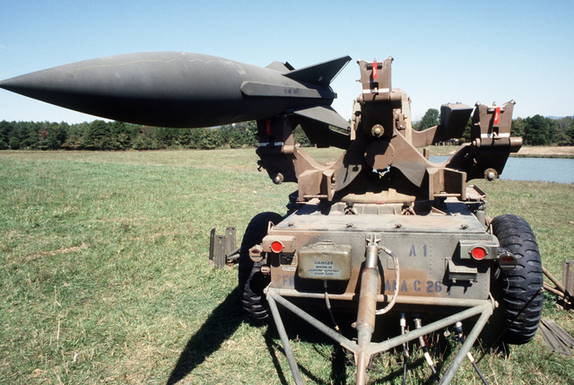 A close-up view of an MIM-23 Hawk missile deployed in the field during a joint Air Force and Army air-drop/air-assault exercise