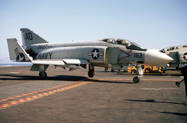 A Fighter Squadron 101 (VF-101) F-4J Phantom II aircraft taxis on the flight deck of the attack aircraft carrier USS AMERICA (CVA 66)