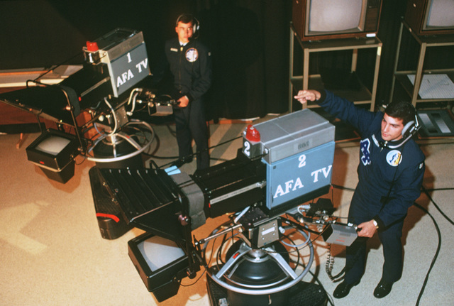 Cadets at the academy operate video cameras located in the closed circuit television work center studio