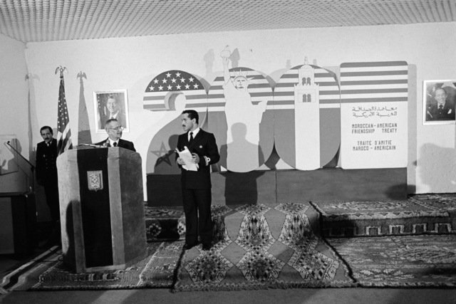 Captain (CAPT) Winfield Donat gives the opening ceremony celebrating the Treaty of Marrakech, the agreement which established diplomatic relations between the United States and Morocco over 200 years ago.  Eighteen Moroccan sailors, graduates of HYCOOP, a hydrographic survey program developed between the US and Morocco, are also being recognized at the ceremony
