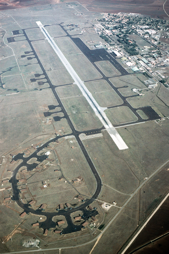 An aerial view of the airfield at Incirlik Air Base, one of two bases to which the 401st Tactical Fighter Wing deploys its forces during a time of conflict