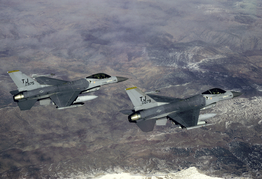 Two 613th Tactical Fighter Squadron F-16A Fighting Falcon aircraft approach Incirlik Air Base while on deployment