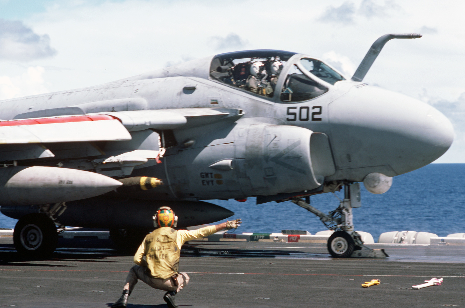 An Attack Squadron 34 (VA-34) A-6E Intruder aircraft is launched during flight operations aboard the nuclear-powered aircraft carrier USS DWIGHT D. EISENHOWER (CNV 69).  Note:  Third view in a series of three