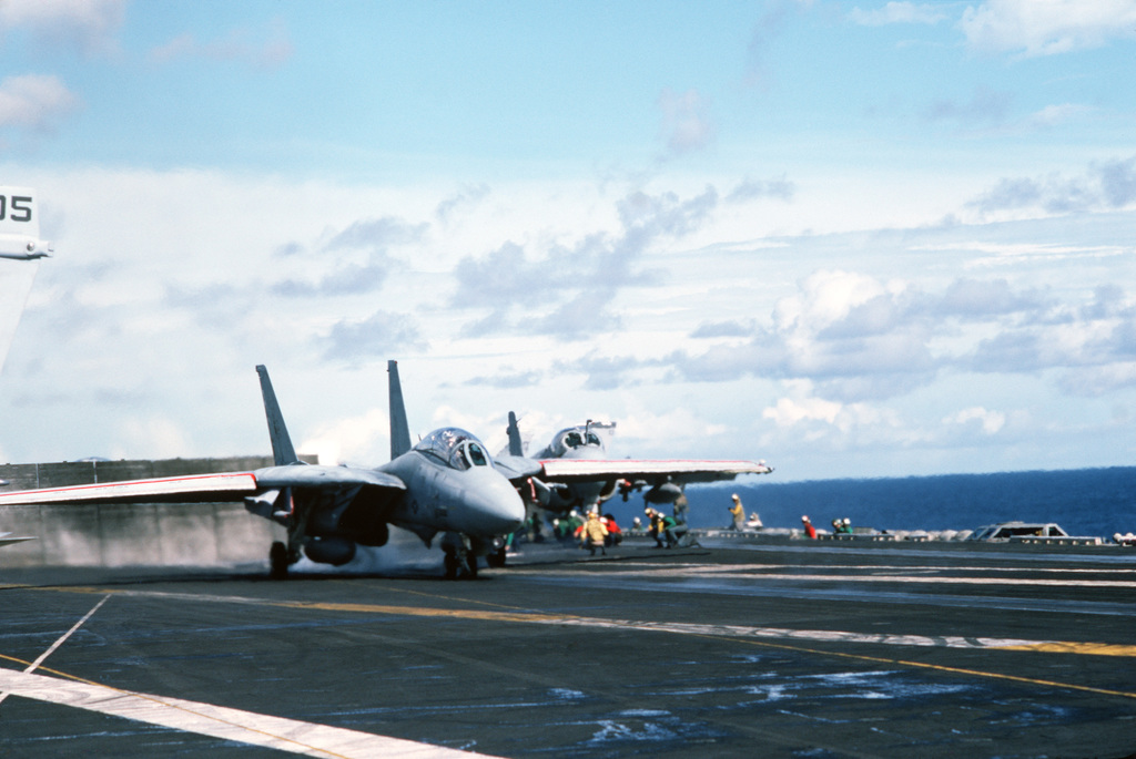 An F-14A Tomcat aircraft is launched during flight operations aboard the nuclear-powered aircraft carrier USS DWIGHT D. EISENHOWER (CNV 69)