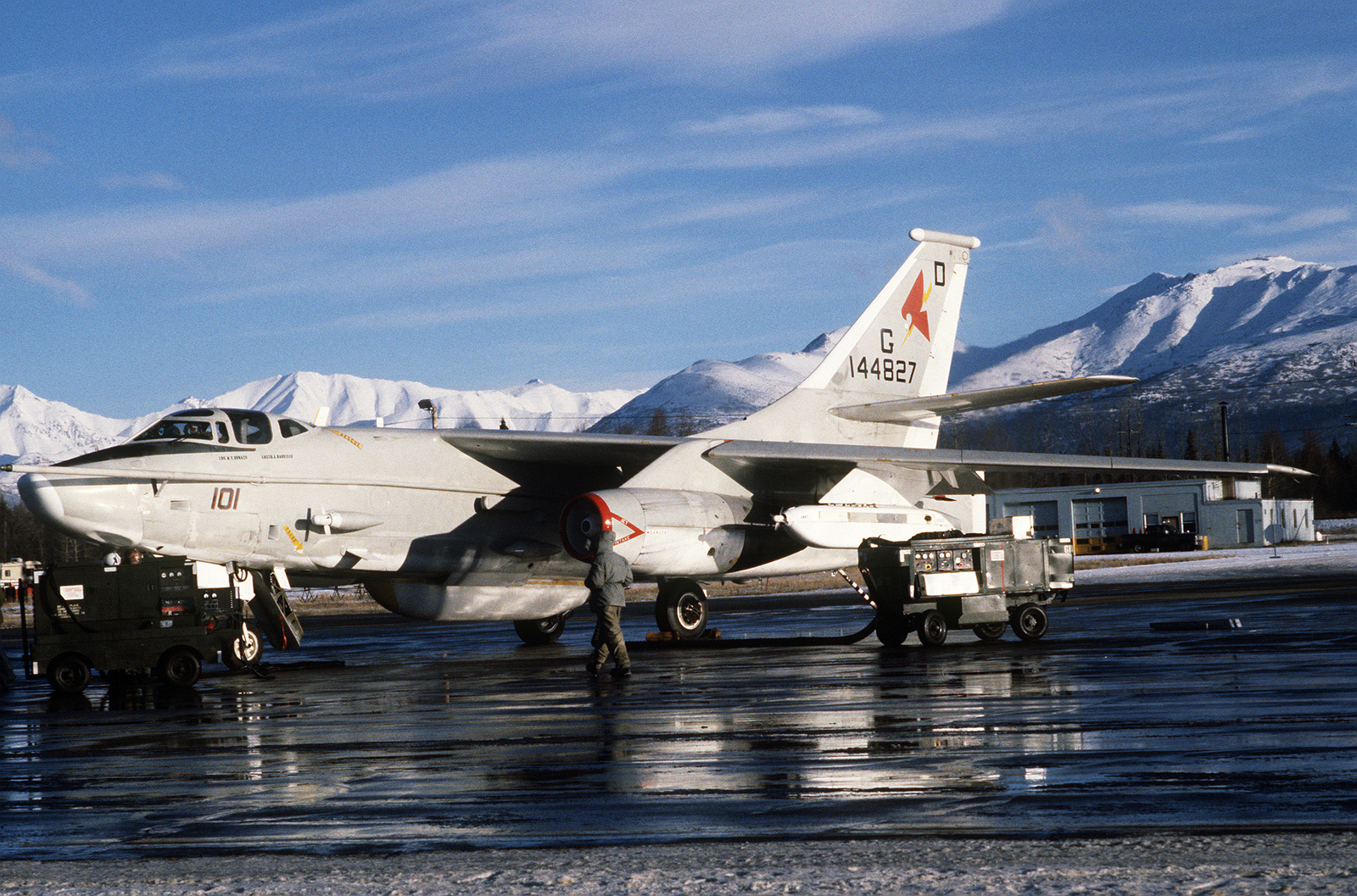 A close-up view of an ERA-3B Skywarrior aircraft on the ramp during