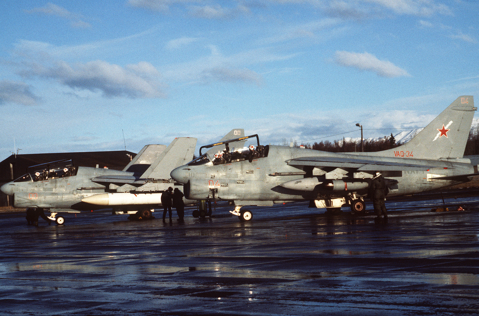 A view of two A-7 Corsair II aircraft on the ramp during the US 3rd