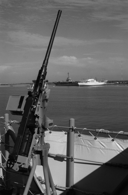 A close-up view of an M2.50-caliber machine gun mounted on the deck of the mine countereasures ship USS AVENGER (MCM 1). The AVENGER is the first of eight ships currently being built by the Navy to replace the older open ocean minesweepers (MSOs) constructed in the 1950s. The vessel is assigned to Mine Squadron 2 and has just arrived at its home port, Naval Base, Charleston