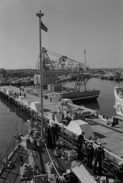 The mine countermeasures ship USS AVENGER (MCM 1) arrives in home port at Naval Base, Charleston. The AVENGER assigned to Mine Squadron 2, is the first of eight ships currently being built by the Navy to replace the older ocean minesweepers (MSOs) constructed in the 1950s