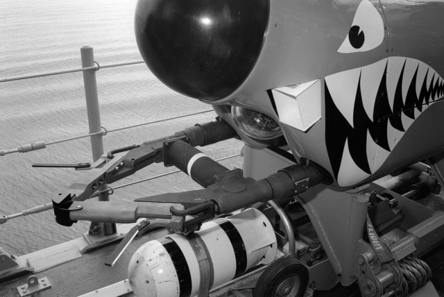A close-up view showing the cable cutters and a small explosive device on the front section of the Mine Neutralization System (MNS) vehicle which is cable-controlled by the mine countermeasures ship USS AVENGER (MCM 1).  The submersible vehicle is on board the AVENGER as the vessel arrives in home port at Naval Base, Charleston.  The AVENGER, assigned to Mine Squadron 2, is the first of eight ships currently being built by the Navy to replace the older open ocean minesweepers (MSOs) constructed in the 1950s