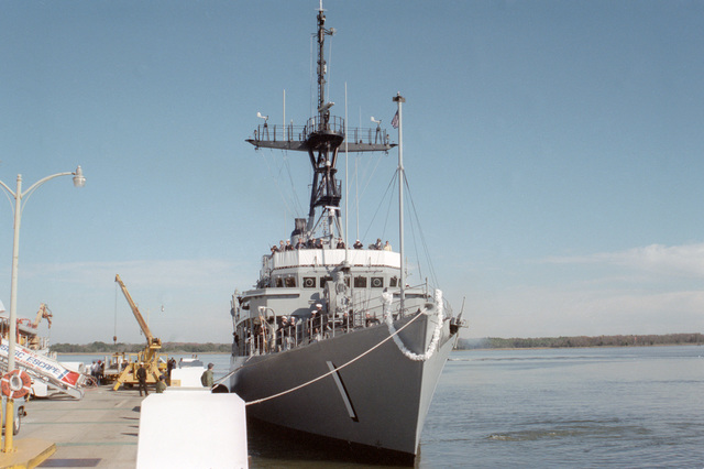 A starboard bow view of the mine countermeasures ship USS AVENGER (MCM 1) moored to the dock at its home port at its home port at Naval Base, Charleston.  The AVENGER, assigned to Mine Squadron 2, is the first of eight ships currently being built by the Navy to replace the older open ocean minesweepers (MSOs) constructed in the 1950s
